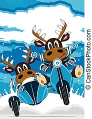 Cute Reindeers and Scooter