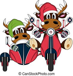 Santa Hat Reindeers and Scooter