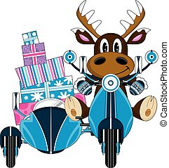 Cute Reindeer and Scooter with Gifts