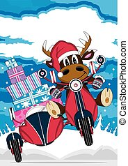 Santa Hat Reindeer and Scooter