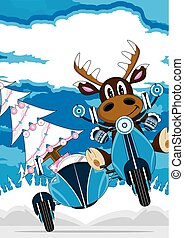 Cute Reindeer and Scooter