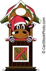 Cute Santa Hat Reindeer in Hut