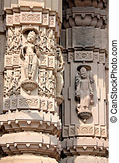 Carved designs on stone pillar in a Temple in kannauj, Uttar...
