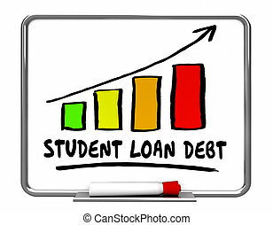 Student Loan Debt Rising Increase Bar Chart 3d Illustration