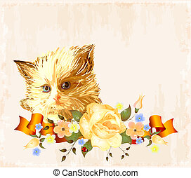 vintage greeting card with  ginger kitten