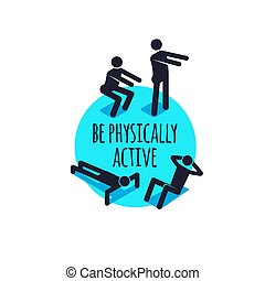 physically active icons, sporty people sign set.