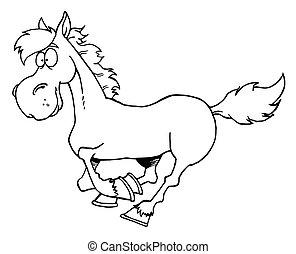 esboçado, caricatura, cavalo, Executando