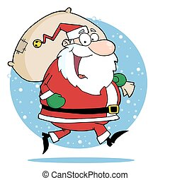 Happy Santa Claus Runs With Bag - Caucasian Santa Clause...