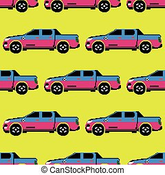 Pickup colored seamless pattern