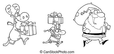 Happy Santa Claus,Elf and Reindeer - Coloring Page Outline...