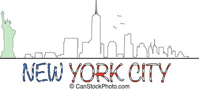 Manhattan skyline with Statue Of Liberty and New York City text shaped usa flag