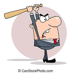 Angry Businessman With Bat - White Business Man Holding A...