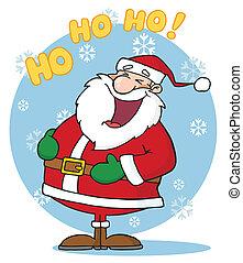 Laughing Santa Claus In The Snow - Caucasian Santa Laughing...