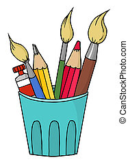 Artist Pot  - Cup Of Pencils And Paintbrushes