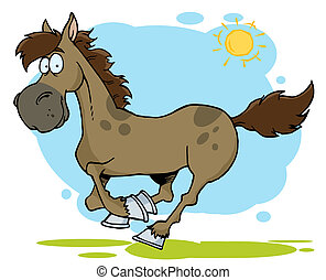Cartoon Horse Running - Happy Brown Running Horse Outside