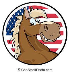 Horse Face Over An American Circle - Happy Cartoon Horse In...