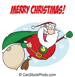 Greeting With Super Santa - Merry Christmas Text Over A...