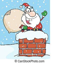 Santa Claus In Chimney Waving