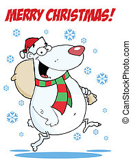 Happy Santa Bear Runs With Bag - Merry Christmas Greeting...