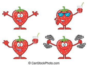 Strawberry Fruit Cartoon Character Series Set 4. Collection