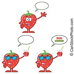Strawberry Fruit Cartoon Mascot Character Series Set 2. Collection