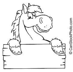 Horse With A Blank Sign - Coloring Page Outline Of A Happy...