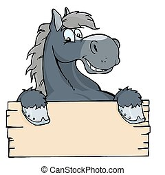 Cartoon Horse Label - Happy Gray Horse Looking Over A Blank...