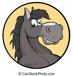 Happy Cartoon Horse - Happy Gray Horse Face Over A Yellow...