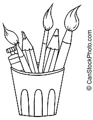 Cup Of Pencils And Paintbrushes