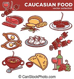 Caucasian food dishes traditional cuisine vector icons for...