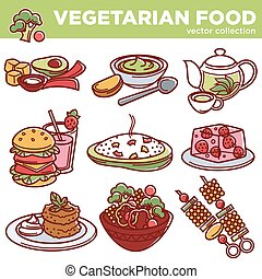 Vegetarian food dishes or vegan veggie menu vector isolated icons