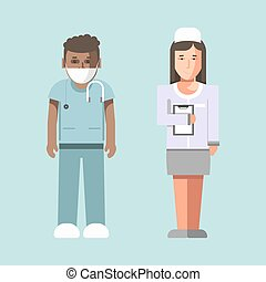 Medical workers or hospital doctors man physician and woman...