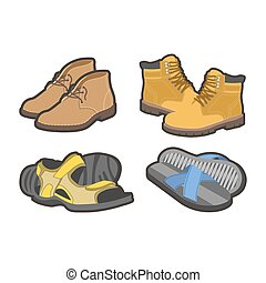 Men shoes types, sandals or boot sneakers vector flat...