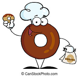 Donut Character Wearing A Chef Hat - Donut Cartoon Character...