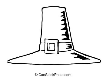 Outlined Pilgrim Hat - Coloring Page Outline Of A Tall... Tall Pumpkin Outline Clip Art
