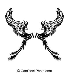 Wings isolated on white background,hand drawing. - Wings...