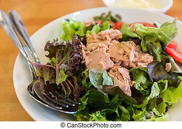 Tuna salad dish. - Tuna salad dish healthy food.
