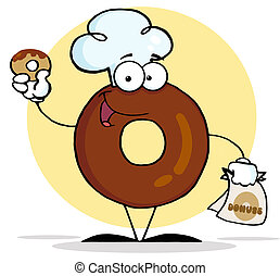 Friendly Donut Holding A Donut - Donut Character Wearing A...