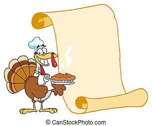 Turkey Chef With Pie And Scroll - Happy Thanksgiving Turkey...