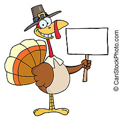 Happy Turkey With Pilgrim Hat - Happy Thanksgiving Pilgrim...