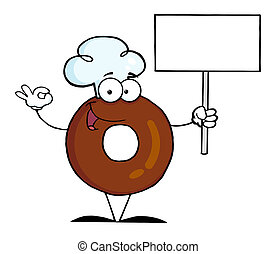 Donut Holding A Blank Sign - Donut Character Wearing A Chef...