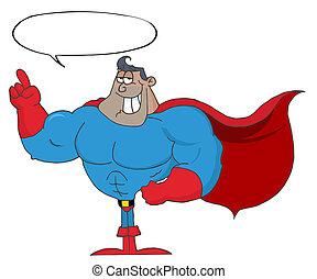 Black Super Hero Man Gesturing
