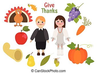 Holiday greetings illustration Thanksgiving Day. Vector...