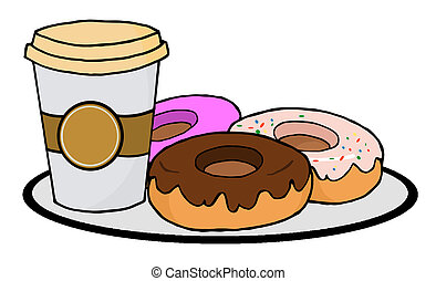 Coffee Cup With Donuts - Cup Of Coffee On A Plate With...
