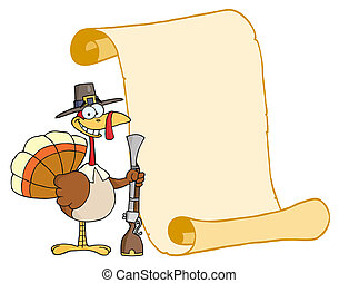 Turkey With Pilgrim Hat and Musket - Happy Thanksgiving...