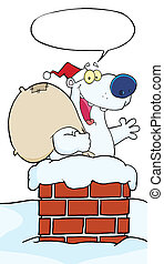 Santa Polar Bear In A Chimney
