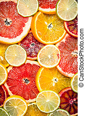 Slices of citrus fruits.