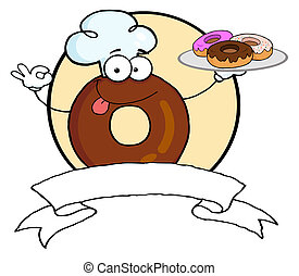 Donut chef brings donuts - Donut Character Wearing A Chef...