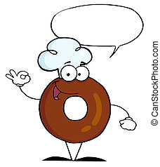 Smiling donut chef