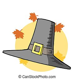 Pilgrim Hat - Tall Pilgrim Hat With Autumn Leaves Over A...